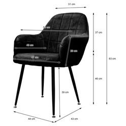 2er Set Esszimmerstuhl, Schwarz, mit Rücken- und Armlehnen