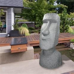 Gartenfigur Osterinsel Moai Grau 38x32x78 cm