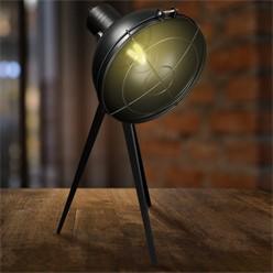 Tischlampe E27 + 1x LED Lampe 4W Schwarz Metall