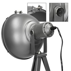 Tischlampe 1 flammig E27 Dunkelgrau mit LED Lampe 4W