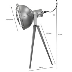 Tischlampe E27 + 1x LED Lampe 4W Dunkelgrau Metall