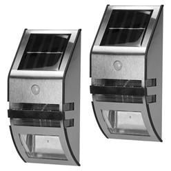 2 x Solarlampe LED Wasserdicht IP65 Warmweiß Edelstahl PVC