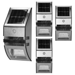4 x Solarlampe LED Wasserdicht IP65 Warmweiß Edelstahl PVC