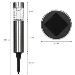 LED-Solarlampe Edelstahl mit Erdspieß 4 Stück