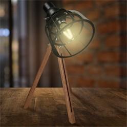 Tischlampe E27 + 1x LED Lampe 4W Schwarz Metall/Holzbeine