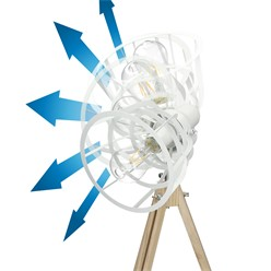 Tischlampe E27 + 1x LED Lampe 4W Weiß Metall/Holzbeine