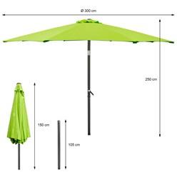 Sonnenschirm mit Kurbel Grün Ø 3 m