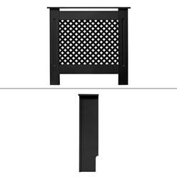 Heizkörperverkleidung mit Wabenmuster 78x19x82 cm Schwarz aus MDF lackiert