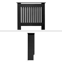Heizkörperverkleidung Landhausstil 78x19x82 cm Schwarz aus MDF lackiert