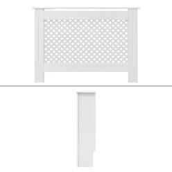 Heizkörperverkleidung mit Wabenmuster 112x19x82 cm Weiß aus MDF lackiert