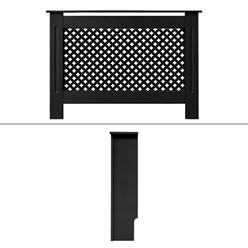 Heizkörperverkleidung mit Wabenmuster 112x19x82 cm Schwarz MDF lackiert