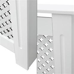 Heizkörperverkleidung mit Wabenmuster 152x19x82 cm Weiß aus MDF lackiert