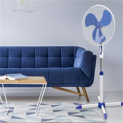 Standventilator 45W Weiß-Blau