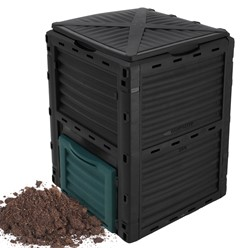 Thermal composter black with lid and dark green flap 300 L, 61 x 61 x 82 cm, made of PP plastic