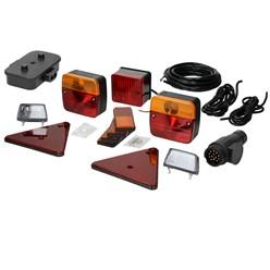 Anhänger Beleuchtung Set 16-Teilig, 13-poliger Stecker, inkl. Leuchtmittel, mit E-Prüfzeichen