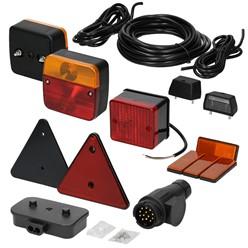 Anhängerbeleuchtung Set 16-Teilig, 13-poliger Stecker, inkl. Leuchtmittel, mit E-Prüfzeichen