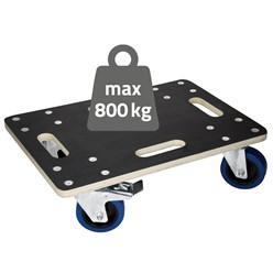 Möbelroller mit 4 Lenkrollen , 2 gebremst, 35 x 50 cm, belastbar bis 800 kg, aus Multiplexplatte