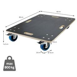 Möbelroller mit 4 Lenkrollen, 2 gebremst, 60 x 80 cm, belastbar bis 800 kg, aus Multiplexplatte