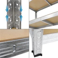 Werkstattregal silber, 200x120x60 cm, aus MDF Holzfaserplatte und verzinktes Metall, bis 875 kg