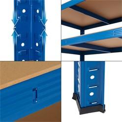 Werkstattregal blau, 200x120x60 cm, aus pulverbeschichtem Metall und MDF Holz, bis 350 kg