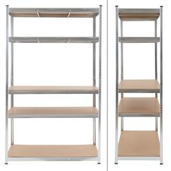 Werkstattregal silber, 200x120x50 cm, aus Metall verzinkt und MDF Holz, bis 350 kg