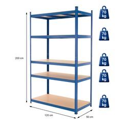 Werkstattregal blau, 200x120x50 cm, pulverbeschichtem Metall und MDF Holz, bis 350 kg