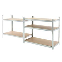 Werkstattregal silber, 200x100x60 cm, aus Metall verzinkt und MDF Holz, bis 350 kg