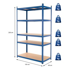 Werkstattregal blau, 200x100x60 cm, aus pulverbeschichtem Metall und MDF Holz, bis 350 kg