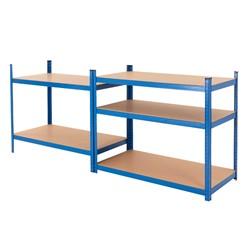 Werkstattregal blau, 200x100x50 cm, aus pulverbeschichtem Metall und MDF Holz, bis 350 kg