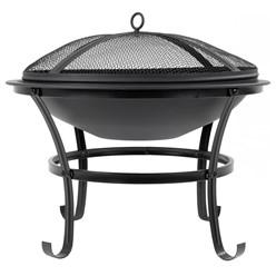 Feuerschale mit Funkenschutz & Grillrost rund, Ø 56 cm, aus Stahl
