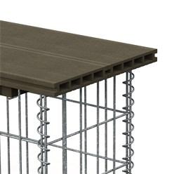 WPC Gabionenbank, 100x30x42.5 cm, aus Verzinkter Stahl