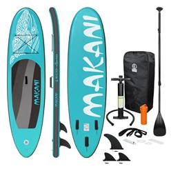 Aufblasbares Stand Up Paddle Board Makani, 320 x 82 x 15 cm, Türkis, inkl. Pumpe und Tragetasche, aus PVC