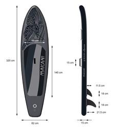 Aufblasbares Stand Up Paddle Board Makani, 320 x 82 x 15 cm, Schwarz, inkl. Pumpe und Tragetasche, aus PVC und EVA