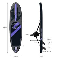 Aufblasbares Stand Up Paddle Board mit Kajak Sitz, 305 x 78 x 15 cm, Schwarz, inkl. Pumpe und Tragetasche, aus PVC und EVA