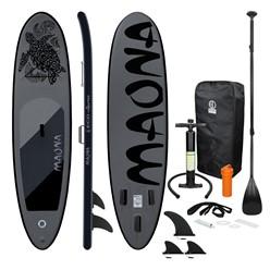 Aufblasbares Stand Up Paddle Board Maona, 308 x 76 x 10 cm, Schwarz, inkl. Pumpe und Tragetasche, aus PVC und EVA