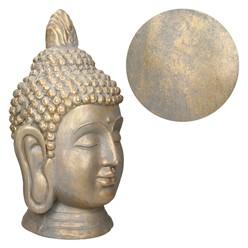 Buddha Kopf Statue 74.5cm aus Polyresin Bronzeoptik für Yoga