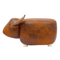 Tierhocker Stier, braun, 62x35x35 cm, aus Kunstleder