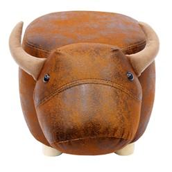 Tierhocker 62x35x35 cm Stier gepolstert mit Massivholz Füßen Braun-Schwarz