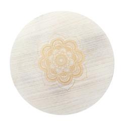 Beistelltisch Weiß/Natur 33 cm, rund, mit Beinen aus Kiefernholz