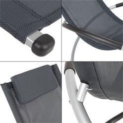 Aluminium Schaukelliege mit Kopfstütze anthrazit, 150x48x90 cm, aus Polyester