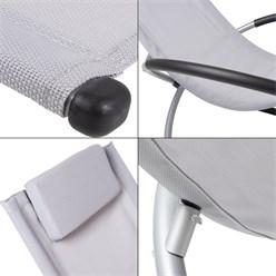 Aluminium Schaukelliege mit Kopfstütze hellgrau, 155x45x125 cm, aus Polyester