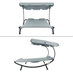 Doppelliege grau, 197x160x139 cm, mit Sonnendach, aus Stahl