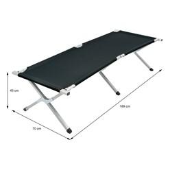 Campingbett mit Tragetasche schwarz, 189x70x45 cm, aus Aluminium und Polyester