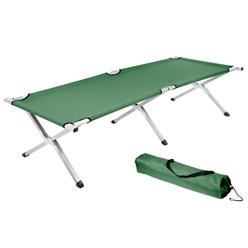 Campingbett mit Tragetasche grün, 189x70x45 cm, aus Aluminium und Polyester