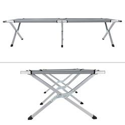 Campingbett mit Tragetasche grau, 189x70x45 cm, aus Aluminium und Polyester