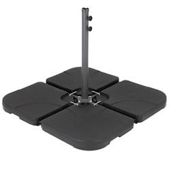 4er Set Sonnenschirmständer schwarz, 50x7.5x50 cm, aus HDPE Kunststoff