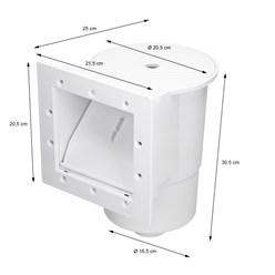 Einbauskimmer Komplett Set, 21.5x25x30.5 cm, mit Einlaufdüse und umfangreichem Zubehör