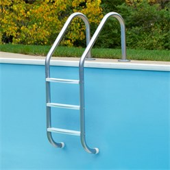 V2A Edelstahl Schwimmbeckenleiter, 63x54x147 cm, silber, mit 3 Stufen