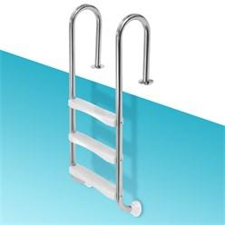 V2A Edelstahl Schwimmbeckenleiter, 26.5x54x130 cm, silber, mit 3 Stufen