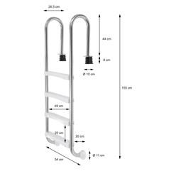 V2A Edelstahl Schwimmbeckenleiter, 26.5x54x155 cm, silber, mit 4 Stufen